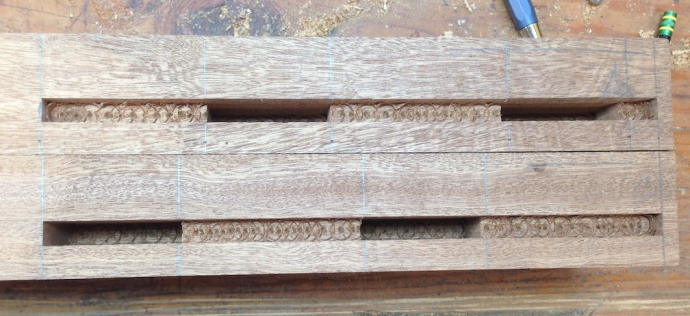 Mortises all cut, this shows the staggered layout pretty well.