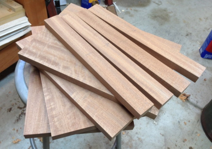 Skirt and stretcher blanks milled up and ready to have tenons cut.